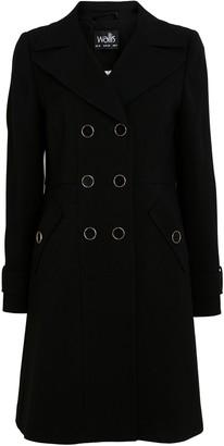 Wallis Black Double Button Military Coat
