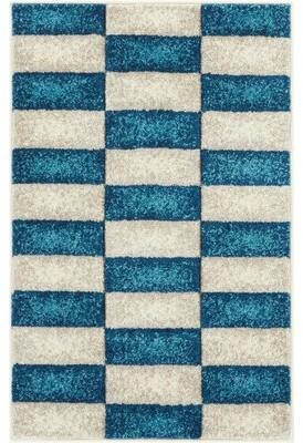 Ebern Designs Fenwick Mid-Century Modern Geo Color Blocks Blue Area Rug Rug Size: Rectangle 2' x 3'