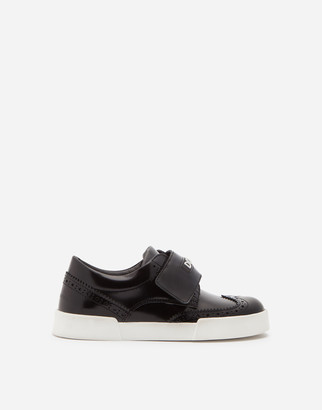 Dolce & Gabbana Calfskin Portofino Light Sneakers With Brogue Detailing