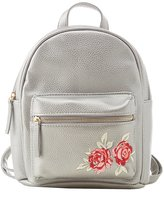 Charlotte Russe Floral Patch Faux Leather Backpack