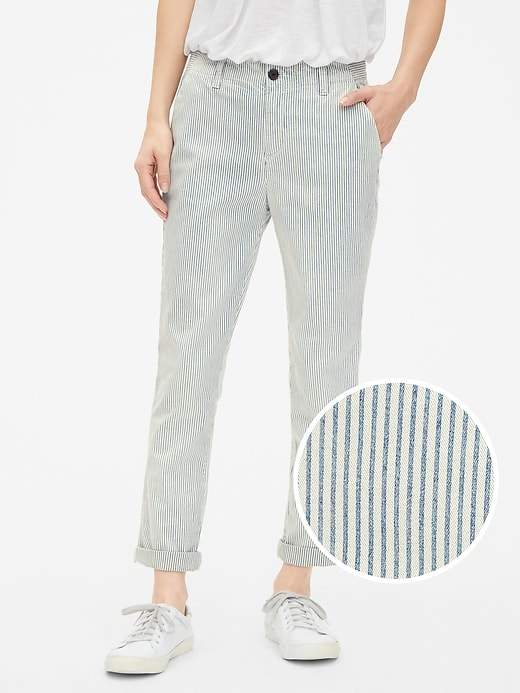 Gap Stripe Girlfriend Chinos