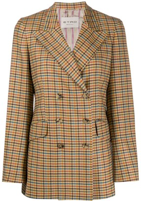 Etro Double-Breasted Check Print Blazer
