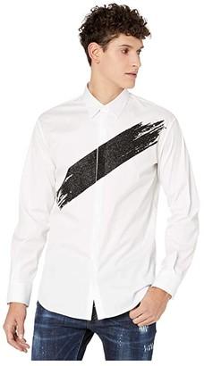 DSQUARED2 Glitter Print Stretch Poplin Shirt (White) Men's Clothing