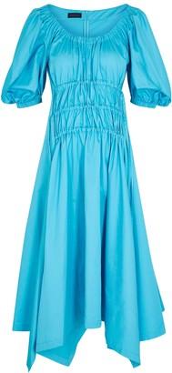 Eudon Choi Pina blue gathered cotton midi dress