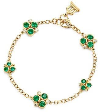 Temple St. Clair 18K Yellow Gold, Diamond & Emerald Trio Bracelet