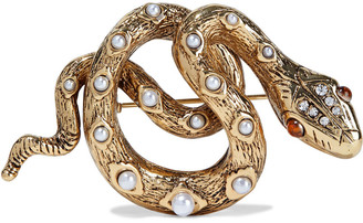 Kenneth Jay Lane 22-karat Gold-plated, Faux Pearl And Crystal Brooch