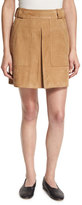 Vince Pleated Suede Mini Skirt, Tan
