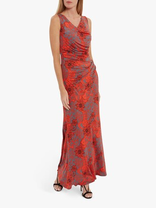 Gina Bacconi Gaelle Floral Jersey Maxi Dress, Red