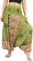 NaLuck Women's Boho Hippie Peacock baggy Jumpsuit Smocked Waist Yoga Harem Pants PH12