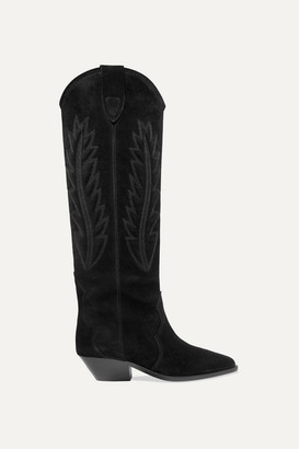 Isabel Marant Denzy Embroidered Suede Knee Boots - Black