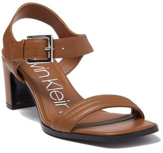 Calvin Klein Darla Leather Block Heel Sandal