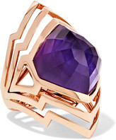 Stephen Webster Lady Stardust 18-karat Rose Gold, Amethyst And Mother-of-pearl Ring