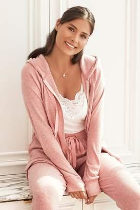 Next Womens Pink Supersoft Zip Hoody Top - Pink