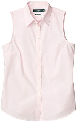 Lauren Ralph Lauren No-Iron Sleeveless Shirt (Barely Pink) Women's Clothing