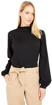 bobi Los Angeles Supreme Jersey Turtleneck Bishop Sleeve Top (Black) Women's Clothing