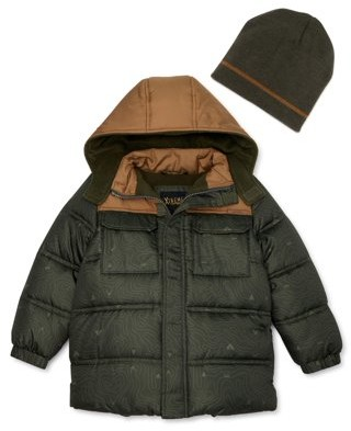 iXtreme Toddler Boy Printed Winter Jacket Coat with Free Gift Hat, 2-Piece Set