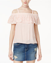 Jessica Simpson Eyelet Ruffled Off The Shoulder Top