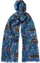 Saint Laurent Printed Cashmere And Silk-blend Scarf