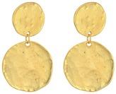 Kenneth Jay Lane Satin Gold Coin Double Drop Pierced Ear Earrings Earring