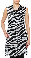 Allison Daley Button Front Lined Zebra Print Duster
