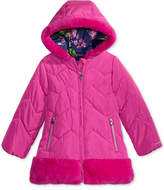 London Fog Hooded Puffer Jacket with Faux-Fur Trim, Toddler Girls (2T-5T)