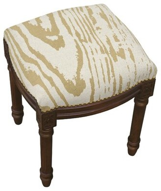 Bungalow Rose Frey Faux Bois Linen Upholstered Vanity Stool