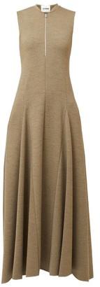Jil Sander Nicole Godet-panel Zip-front Wool Midi Dress - Mid Brown