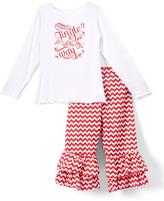 Beary Basics Red 'Jingle' Long-Sleeve Tee & Ruffle Pants - Toddler & Girls