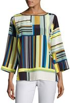 Lafayette 148 New York Bateau-Neck Striped Silk Blouse, Multi