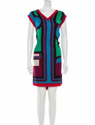Hermes Silk Knee-Length Dress Blue