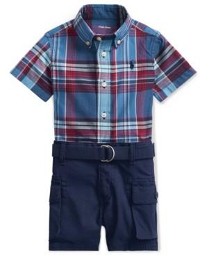 Polo Ralph Lauren Ralph Lauren Baby Boys 3-Pc. Plaid Shirt, Belt & Shorts Set