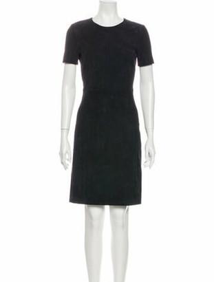 Prada Crew Neck Knee-Length Dress Blue