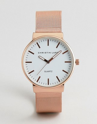 Christin Lars Mesh Strap Watch In Gold With White Dial