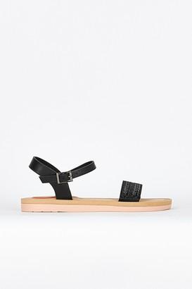 Wallis Black Flatform Trim Detail Sandal