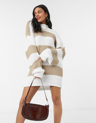 In The Style x Billie Faiers stone stripe chunky oversized jumper dress