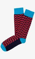 Express Color Block Chevron Dress Socks
