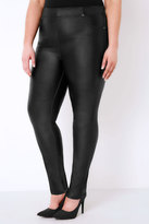 Yours Clothing Black Coated Jeggings With Elasticated Waist