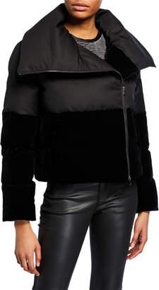 Emporio Armani Quilted Nylon & Velvet Puffer Coat