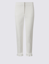 Limited Edition Cotton Blend Frill Hem Slim Leg Trousers