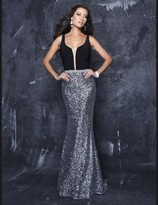 Nina Canacci - Deep V Neck Dress in Black/Silver 7251