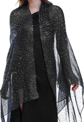 """Banetteta""""Starry Night"""" Rhinestone Shawls and Wraps for Evening Dresses Wedding Shawl Wrap Shiny Scarf - Black - Large"""