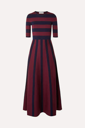 Gabriela Hearst Capote Striped Merino Wool And Cashmere-blend Maxi Dress - Navy