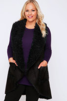 Yours Clothing Black Shearling Waterfall Gilet With Pockets