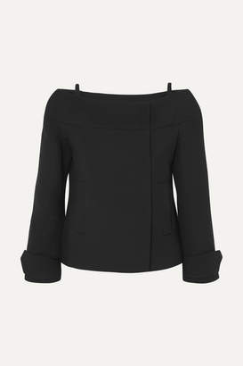 Prada Cold-shoulder Wool Jacket - Black