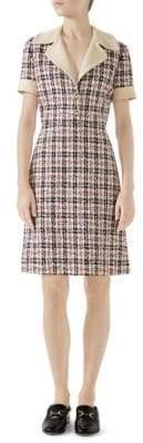 Gucci Short-Sleeve V-Neck Collar Tweed Dress
