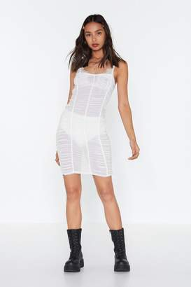 Nasty Gal Womens Mesh About Ruched Mini Dress - white - 14