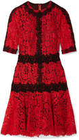 Dolce & Gabbana Cotton-blend Corded And Guipure Lace Mini Dress - Red