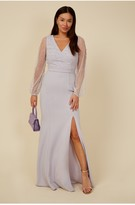 Thumbnail for your product : Little Mistress Bridesmaid Sofie Dusty Blue Pearl Mesh Maxi Dress