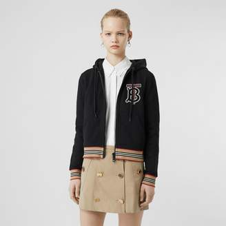 Burberry Icon Stripe Detail Monogram Motif Hooded Top