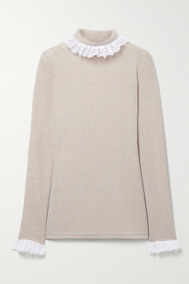 ÀCHEVAL PAMPA Escalada Ruffled Lace-trimmed Stretch-knit Turtleneck Sweater - Beige